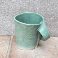 Coffee mug tea cup in textured stoneware handmade ceramic pottery