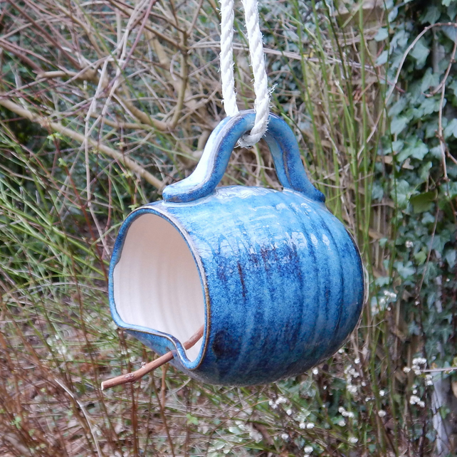 Bird feeder mug hand thrown in stoneware weatherproof frostproof handmade
