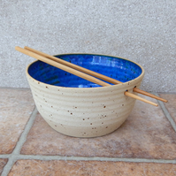 Noodle or rice bowl hand thrown in stoneware pottery handmade ceramic