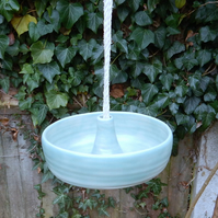 Bird feeder hand thrown in stoneware--fully weatherproof handmade pottery wheel