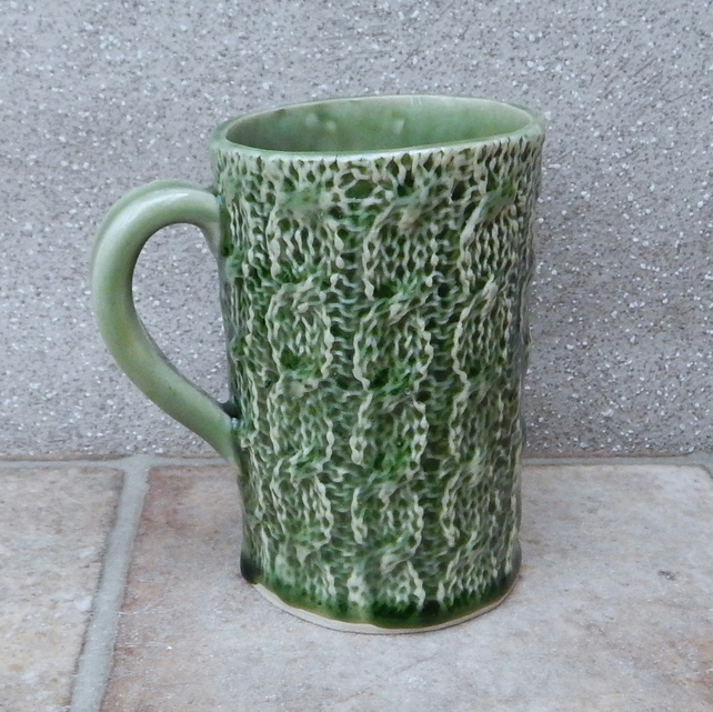 Knitted mug coffee tea cup stoneware ceramic pottery knitting texture