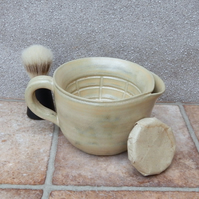 Shaving scuttle shave lather soap bowl hand thrown in stoneware wheelthrown