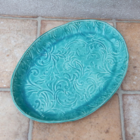 Serving dish plate platter tray handmade in textured stoneware ovenproof ceramic