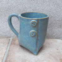 Tripod coffee mug tea cup with button handmade in stoneware pottery ceramic