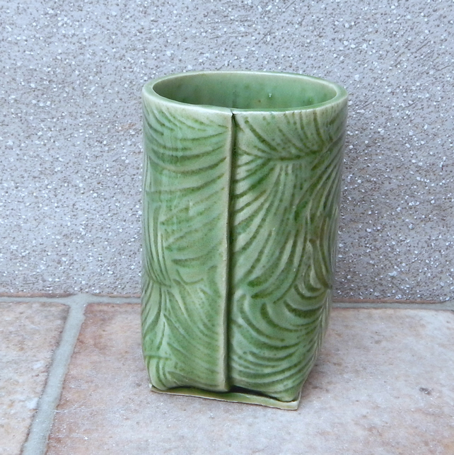 Wine water or juice beaker tumbler handmade in textured stoneware pottery