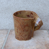 Coffee mug tea cup in stoneware handmade rextured ceramic pottery