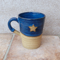 Coffee mug tea hand thrown in stoneware pottery ceramic star handmade