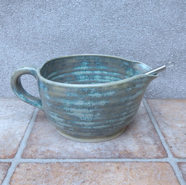 Batter mixing pouring bowl hand thrown jug stoneware ceramic pottery handmade