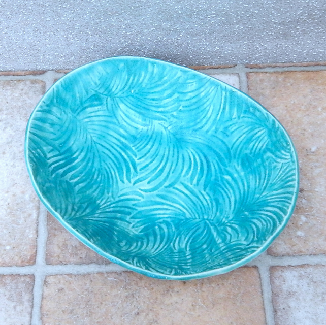 Serving dish oven proof bowl handmade in textured stoneware pottery ceramic