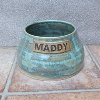 Personalised spaniel water bowl for long eared dog hand thrown stoneware pottery