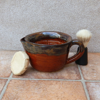 Shaving scuttle shave lather soap bowl hand thrown stoneware wheelthrown