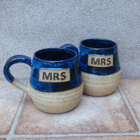 Pair of Mrs and Mrs cuddle mug coffee tea cup hand thrown stoneware pottery