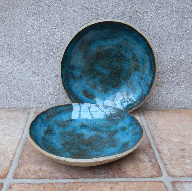 Pair of dessert serving bowl dish handmade in textured stoneware pottery ceramic
