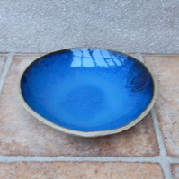 Dessert dish or pudding bowl plate handmade in stoneware ceramic pottery