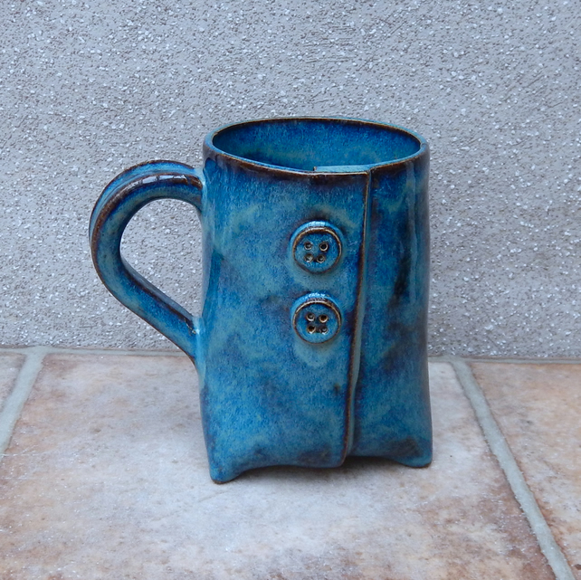 Tripod coffee mug tea cup stoneware pottery ceramic tripod 3 three handmade