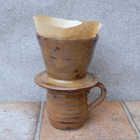 Coffee dripper & matching mug cup pourover hand thrown stoneware pottery