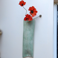 Wall vase handmade in textured stoneware pottery ceramic flower bouquet spray
