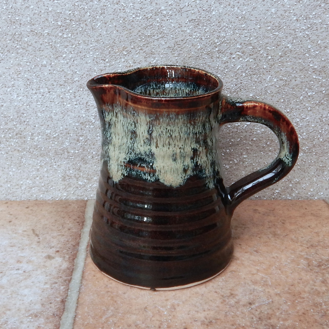 Jug or pitcher handthrown stoneware pottery ceramic handmade water milk wine