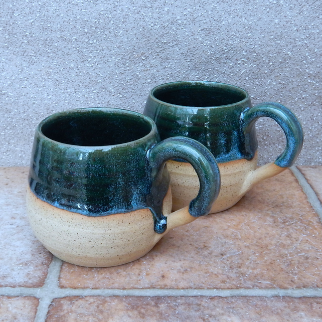 Pair of cuddle mugs coffee tea cups in stoneware hand thrown pottery wheelthrown