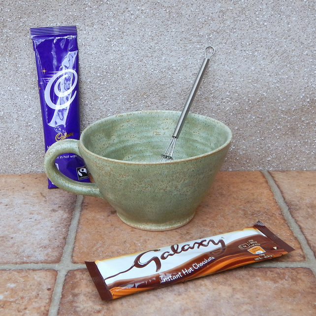Hot chocolate or soup mug or bowl wheelthrown in stoneware pottery