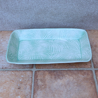 Serving plate oven dish handmade in textured stoneware ceramic pottery