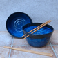 Pair of noodle or rice serving bowls hand thrown in stoneware ceramic pottery