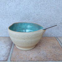 Drizzle bowl egg whisking batter mixing pouring wheelthrown stoneware handmade