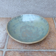 Dessert dish or bowl plate handmade in stoneware ceramic pottery