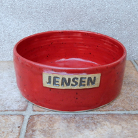 Dog food bowl JENSEN hand thrown stoneware pottery ceramic meat feed