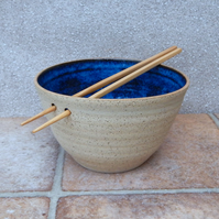 Noodle or rice serving bowl hand thrown in stoneware pottery ceramic handmade