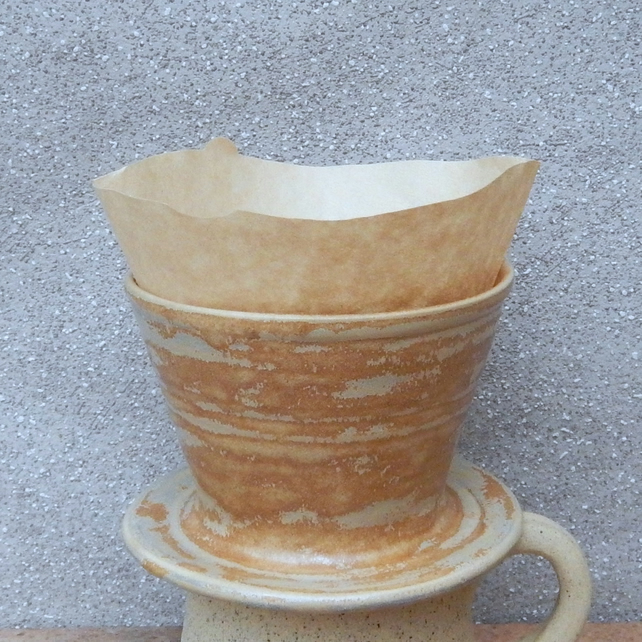 Coffee filter holder dripper pourover handthrown stoneware pottery ceramic