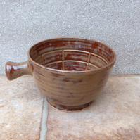 Apothecary shaving lather shave bowl hand thrown in stoneware soap handmade