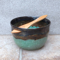 Dip serving bowl pate dish hand thrown stoneware with a swedish butter knife