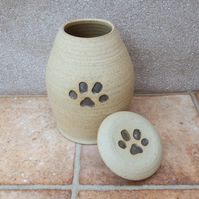 Pet urn cremation ashes hand thrown jar in stoneware pottery ceramic