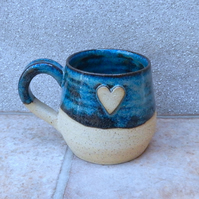 Coffee mug tea cup hand thrown stoneware pottery wheelthrown handmade heart