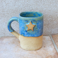 Coffee mug tea cup handthrown in stoneware pottery ceramic star handmade