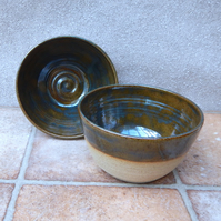 Pair of soup, cereal or salad serving bowls stoneware pottery handmade