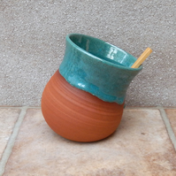 Salt pig or cellar hand thrown terracotta pottery handmade ceramic wheelthrown