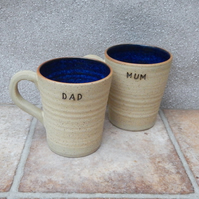 Pair of Mum and Dad mugs coffee tea cups in stoneware hand thrown pottery