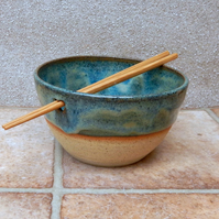 Noodle or rice serving bowl handthrown in stoneware pottery ceramic wheel thrown