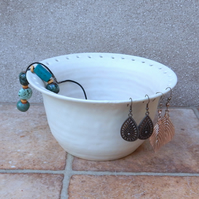Jewellery bowl for organising displaying your jewelry hand thrown stoneware