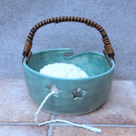 Yarn bowl knitting or crochet wool hand thrown ceramic pottery wheelthrown