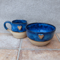 Mug and cereal bowl handthrown in stoneware pottery handmade ceramic wheel