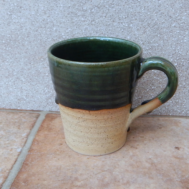 Latte coffee mug tea cup in stoneware hand thrown ceramic wheelthrown pottery
