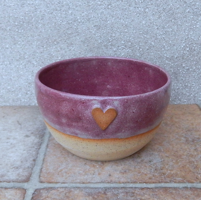 Soup, cereal noodle rice bowl heart dish hand thrown stoneware pottery handmade