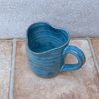 Coffee mug tea cup heart shape rim handthrown in stoneware pottery