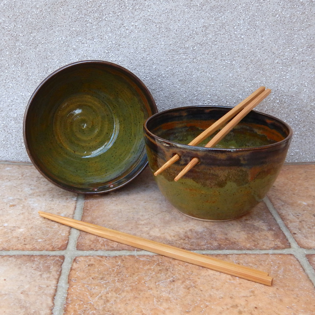 Pair of noodle or rice serving bowls stoneware pottery handmade wheelthrown