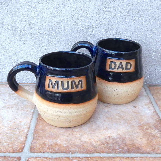 Mum and Dad cuddle mugs coffee tea cup wheel thrown in stoneware ceramic pottery