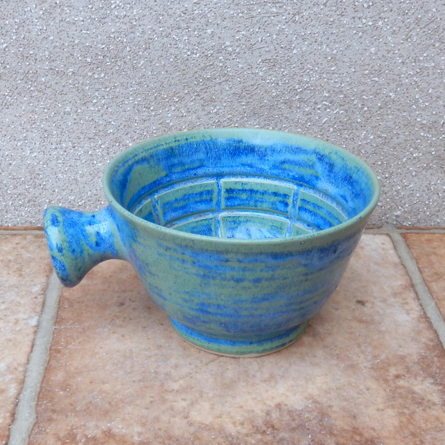 Apothecary shaving lather soap bowl shave hand thrown in stoneware pottery