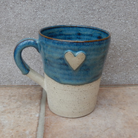 Coffee mug tea cup with a heart in stoneware hand thrown ceramic pottery